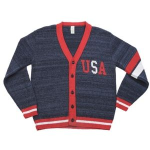 GREEN 3 Americana USA Boyfriend Letterman Sweater